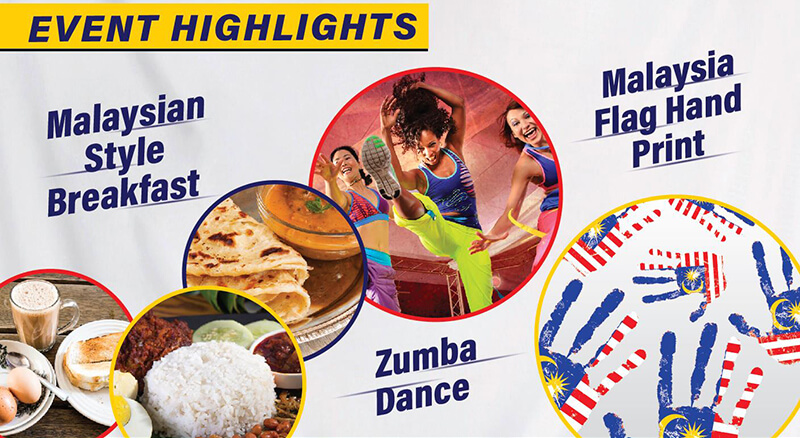 Event highlights | Malaysian style breakfast | Zumba dance | Malaysia Flag Hand Print